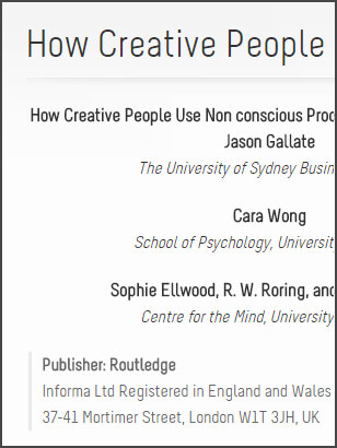 How Creative People Use Non conscious Processes to Their Advantage